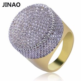 $enCountryForm.capitalKeyWord Australia - JINAO Gold Color Plated Iced Out Bling Ring Micro Pave Cubic Zircon Round Big Ring Hip Hop Jewelry For Men With 7,8,9,10,11 Size