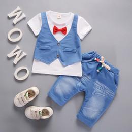 26eade375 2019 New arrival Toddler Kids Baby Boys Outfits Short Sleeve T-shirt+Pants  Gentleman Clothes summer Seterkek bebek giyim