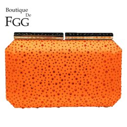 $enCountryForm.capitalKeyWord UK - Boutique De Fgg Orange Crystal Women Evening Clutch Bag Metal Frame Acrylic Clasp Wedding Party Banquet Chain Shoulder Handbag J190630