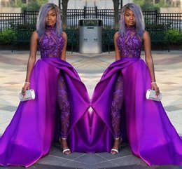 $enCountryForm.capitalKeyWord Australia - 2019 Classic Jumpsuits Prom Dresses With Detachable Train full Lace Appliqued sequined Evening Gowns Luxury African Party Women Pant Suits
