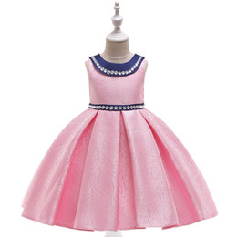 Chinese  Children's Handmade beaded wedding dress woven jacquard doll collar princess dress hosted piano costume evening dress manufacturers