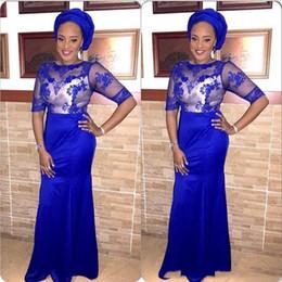 $enCountryForm.capitalKeyWord Australia - Elegant Royal Blue Mermaid Mother Of Bride Dresses With Sheer Neck Appliqued Floor Length WEdding Guest Dress For Black Women