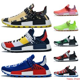 trail trainers UK - 2019 Pharrell williams NMD Human Race Shoes Trail Infinite Species BBC Blue Red Green Plaid Solar Pack Mens Trainers Sports Women Sneakers