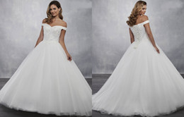 Winter portraits online shopping - Fashion Off the shoulder Wedding Dresses with Sleeves Ball Gowns Tulle Backless Cheap Long Wedding Reception Dress bridal Gowns
