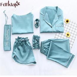 night suit for summer 2019 - Fdfklak Home Clothes Sexy Pijama 7 Pieces Silk Pajamas For Women Night Suit Sleepwear Sets Pyjamas Women Spring Summer Q