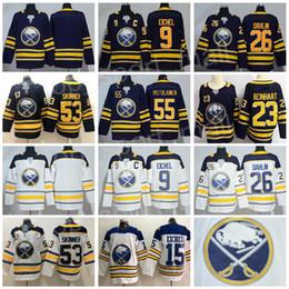 3ac2fa095 Buffalo Sabres 9 Jack Eichel Jersey Hockey 26 Rasmus Dahlin 53 Jeff Skinner  55 Rasmus Ristolainen Reinhart Okposo Blue White Men Women Kids