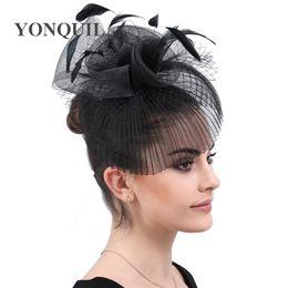 Clip Hair Black Australia - New fashion black party headwear accessories wedding fascinator ladies hats derby women feather flower headpiece hair clips