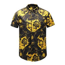 Batik dress design online shopping - 2019 new style men short sleeve shirts true reveler design fashion black gold Chain blouse Luxury Royal man shirts summer tops