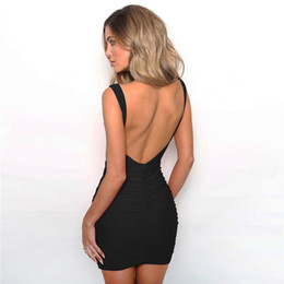 $enCountryForm.capitalKeyWord NZ - Women Sleeveless Backless Mini Pleated Dress Solid Color Ruched Hip Wrap Dresses Party Sexy Slip Dress Skirts Fashion Clothes