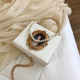 $enCountryForm.capitalKeyWord Australia - Factory wholesale brand women handbag new baroque hard box bag sweet Pearl decorative chain bag foreign-style leather portable shoulder bag