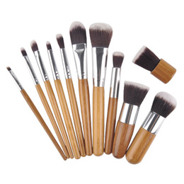 Chinese  Bamboo Handle Makeup Brushes Professional Foundation Eyeshadow Blush Cosmetic Makeup Brushes Set Kit Pouch 11pcs set manufacturers