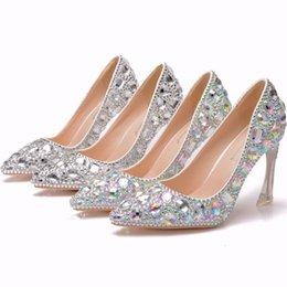 $enCountryForm.capitalKeyWord NZ - Crystal Queen Cinderella Women Heels For Evening Party Glittering Pointed Toe Custom Silver Rhinestone Wedding Pumps Size