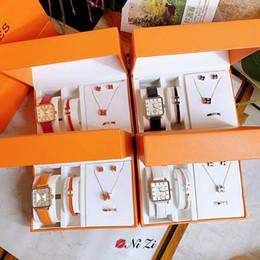 2019 Nuevo Anillo de Collar de Pendientes de Puño de Calidad Superior de Lujo Top set 5 en 1 caja Para Mujeres Cuarzo Herm Mejor Regalo Diseñador de joyas