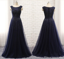 evening nails Australia - 2019 High-end Sexy A-Line Evening Dress shoulder Sleeveless T-shirt Mesh Lace Applique Nail Bead Long Autumn Winter Dance Party Dresses