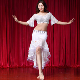 gypsy clothes women NZ - Sexy Lace Bellydance Costume Women Flared Sleeve Gypsy Bollywood Practice Dancing Outfits Performance Clothes Fairy Suit DC1289