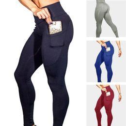 Wholesale phone pants resale online – Yoga Running Sports Fitness Pants Side Mobile Phone Pocket Sports Yoga Pants Female with Pockets Leggins Fitness