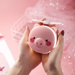 $enCountryForm.capitalKeyWord NZ - New creative Piggy makeup mirror USB fan charging mini fan with lamp portable makeup fan Gift