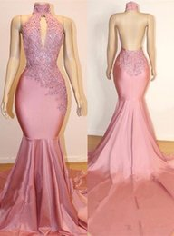 $enCountryForm.capitalKeyWord Australia - Stunning Pink Mermaid Prom Dresses 2019 Sexy Open Back Halter Keyhole Neck Appliques Beaded Long Evening Gowns BC1535