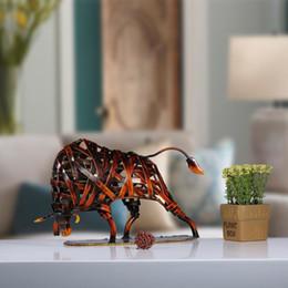 $enCountryForm.capitalKeyWord NZ - Tooarts Durable Metal Sculpture Iron-made Braided Cattle Home Furnishing Articles Handmade Craft House Office Ornamental Artwork Q190605
