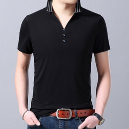 Discount mens slim fit polos - 2019 New Fashion Brand Clothing Polo Shirt Mens V Neck Blank Summer Short Sleeve Slim Fit Korean Polos Casual Men's