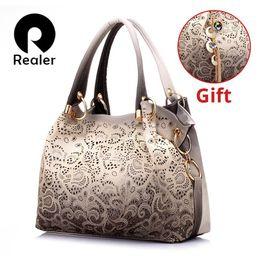 $enCountryForm.capitalKeyWord NZ - REALER brand women bag hollow out ombre handbag floral print shoulder bags ladies pu leather tote bag red gray blue