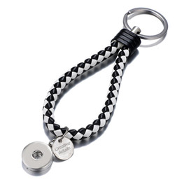 leather snap keychain Australia - Hot Sale Top Popular Fashion Weave PU Leather Key Chains 18mm Snap Button Keychain Jewelry For Men Women 20 Colors Key rings 093