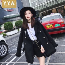 loose pearls 2021 - Brand New Womens Long Sleeve Pearls Double Breasted Jackets Fashion Office Ladies Loose Fit Tassel Outerwear Coats Stree