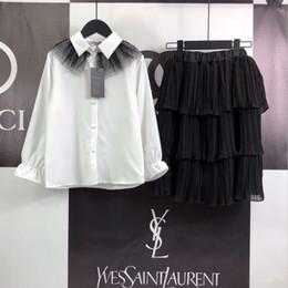 $enCountryForm.capitalKeyWord Australia - girl skirt sets kids designer clothes girl chiffon skirt + cotton white shirt 2pcs sets unique mesh design charm cake skirt set