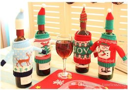 dinner bags designer 2021 - Christmas Wine Bottle Bag Dinner Party Decoration Creative knit wine bag Bottle Cover Bag Christmas decoration