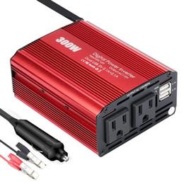 Convertisseur de voiture 300W DC 12V à 110V AC avec 4.2A Dual USB Adaptateur de voiture pour Smartphones Laptop Tire-lait