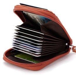 Travel Business Case Australia - Leather Credit Cards Holders Wallet with Zipper for Men Women Travel Business Wallets Credit Card Case Holder Short Wallet Purse
