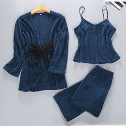 Women Velvet Clothes Australia - Sweet Women Warm Winter Home Clothing Casual Female Outdoor Long Sleeve Sleepwear Thick Velvet Pajamas Pijamas Suit Nightwear