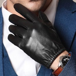 $enCountryForm.capitalKeyWord Australia - Men's 100% Real Leather Goat Skin shrink Wrist Police Tactical Short GLOVES Touch Screen Gloves