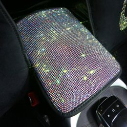 Discount armrest pads - Fashion Rhinestone Crystal Car Armrest Pad Cover for Armrests Center Console Car Armrest Cushion Box Covers Women