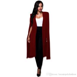 $enCountryForm.capitalKeyWord NZ - Womens Designer Long Cape Fashion Solid Office Lady Suit Jacket Business Donna V Neck Cardigan Coats