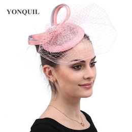 $enCountryForm.capitalKeyWord Australia - Hair Fascinators for weddings hats women elegant pinks bridal veils headwear hair clips mesh hair accessories for event party free shipping