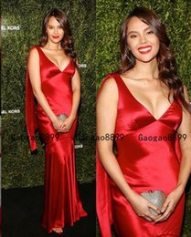 Yellow v neck prom dress online shopping - 2020 luxury red Evening Dresses Amazing sexy v neck ruched Elastic Satin long mermiad special Occasion Prom Formal Gowns Red Carpet Dress