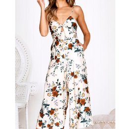 Womens Floral Print Trousers Australia - Summer Wide Leg Trousers Jumpsuit Women Floral Print Jumpsuits Womens Rompers Playsuit Sleeveless Bodycon Romper