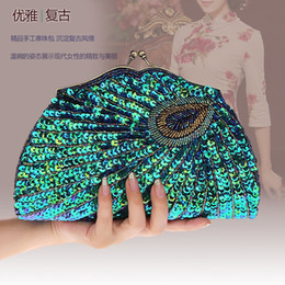 Peacock Bags Australia - Vintage Women's Clutches Evening Bags with handle Peacock Pattern Sequins Beaded Bridal Clutch Purse luxury mini handbag WY146 #599706