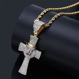 Mens Gold Lion Pendant Australia - Luxury Full Diamond Crown Animals Necklaces 18K Gold Plated Chains Cross Necklace Mens Hot Fashion Lion Head Pendant Necklaces Couples Gifts