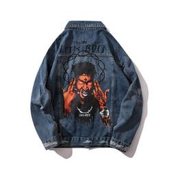 $enCountryForm.capitalKeyWord Australia - MORUANCLE Fashion Hi Street Hip Hop Rock Jean Jacket For Man Ripped Printed Denim Trucker Jackets Outerwear Streetwear Clothing