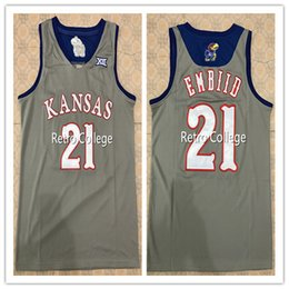 93fdd97be #21 JOEL EMBIID Kansas Jayhawks Retro Basketball Jersey All Size Embroidery  Stitched Customize any name and name XS-6XL vest Jerseys