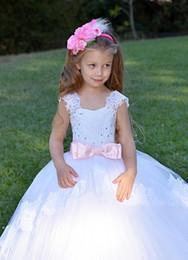 Wedding Vest Pink Australia - White Flower Girl Dress Wedding Lace Kids Bridesmaid Little Girl Party Dress Holiday Formal Tulle Dress Pink Wedding Baby Toddler