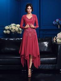 $enCountryForm.capitalKeyWord Australia - New Arrival A-Line V-Neck Asymmetrical Chiffon Dark Red Chiffon Mother Of The Bridal Dresses Long Sleeve Jacket Appliques Women Evening Gown