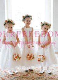 girls white tea length dress NZ - 2019 Lovely Cute Flower Girls Dresses Tea Length Jewel Neck Zipper Back White A Line First Communion Dresses Girls Pageant Gown For Counrty