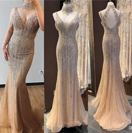 Prom dresses blue diamonds online shopping - Luxury Dubai Champagne V Neck Pearls Diamond Prom Dresses Latest Design Sleeveless Sexy Pageant Party Evening Gowns Abendkleid