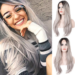 $enCountryForm.capitalKeyWord NZ - Factory price 1pc Women Fashion Lady Gradient Gray Long Wave Curly Lace Front Hair 64cm Cosplay Wigs Stand Stocked Feb20