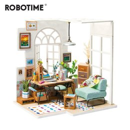 model house kit diy UK - Robotime DIY Soho Time with Furnitures Children Adult Miniature Wooden Doll House Model Building Kits Dollhouse Toy Gift DGM01 Y200317