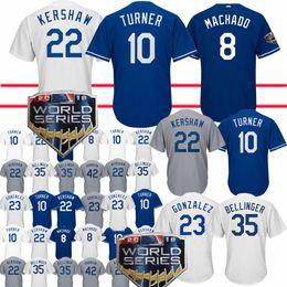 39b475b5b 8 Manny Machado Jerseys Los Angeles Dodgers 22 Clayton Kershaw 5 Corey  Seager 23 Adrian Gonzalez 10 Justin Turner Jersey Adult shirt