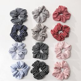$enCountryForm.capitalKeyWord Australia - 12 Colors Scrunchies Headwear Large intestine Hair Ties Ropes Elastic Stripe Hairbands Girls Ponytail Holder Trendy Hair Accessories